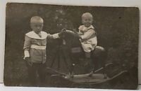 RPPC Adorable Toddler Children on Rocking Horse Real Photo c1910 Postcard E19