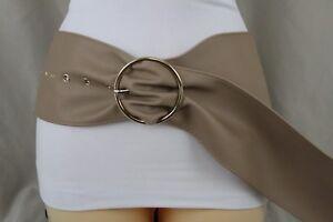 New Women Belt Fashion Wide Tan Nude Wide Faux Leather Long Retro Hip Waist S M