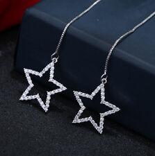 XXL Lange 925 Sterling Silber Sterne Zirkonia Ohrringe Ohrschmuck Strass