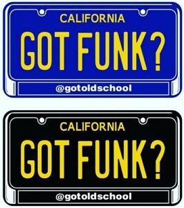 "2 CALIFORNIA GOT FUNK? STICKERS Black & Royal Blue 3 1/2"" × 2"" BUSINESS CARD SIZ"