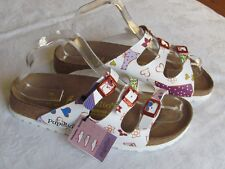 b6c730f18916 NEW Papillio By Birkenstock Ladies White Floral Hearts Sandals UK Size 5 EU  38