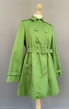 Ness Green Raincoat Mac Jacket Trench Coat Belted UK 10