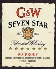 Unused 1940s ILLINOIS Peoria Gooderham Worts GW SEVEN STAR WHISKEY medium Label
