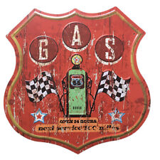 Route 66 Round-the-clock Gas Station Cast Iron Sign Metal Gate Door Plaque 2