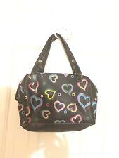 XOXO Handbag Black Jelly PVC Purse Multi Color Hearts Clutch