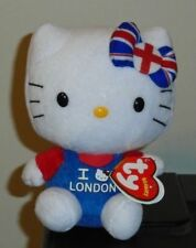 Ty Beanie Baby ~ HELLO KITTY (I Love London)(UK Exclusive) NEW MWMT