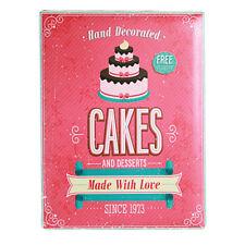Targa da Parete in Metallo 30x40 Cakes Torte Insegna Quadro Cartello Vintage