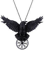 Restyle Helm of Awe Pendant Necklace Black Crow Nordic Talisman Gothic Witchy