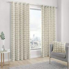 "Skandi Leaf Linen Design Eyelet Ringtop Curtains 66x72 to 90x90"" DELFT Fusion"