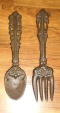 RUSTIC CAST IRON WALL FORK AND SPOON/GREAT FOR KITCHEN DECOR