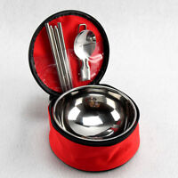 Stainless Steel Camping Tableware Set Bowl Spoon Chopsticks Outdoor Cutlery