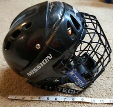 New listing Youth Boys Mission size M-15 Black Ice Hockey Helmet, Itech Rbe Iii Cage