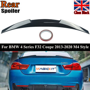FOR BMW 4 SERIES F32 COUPE F82 13-20 M4 STYLE REAR BOOT LIP SPOILER GLOSS BLACK