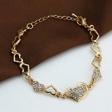 Lover Gift 18K Gold Plated Cubic Zirconia Crystal Love Heart Chian Bracelet New