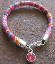 Ethno Women's Bracelet red pink multicolour fabric NEW Wrist Band Rhinestone