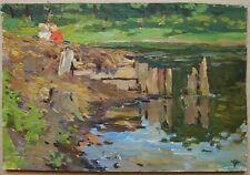Russian Ukrainian Soviet Oil Painting landscape realism river children 1950s