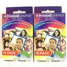2 Polaroid Film Paper Random Color Borders 10 Pack x2 Zip Snap