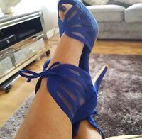 Womens Blue Shoes By Ks Ladies Stilettos High Heels Size 4