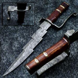 """Authentic HAND FORGED DAMASCUS 16.0"""" HUNTING KNIFE - NATURAL WOOD - WD-5325"""