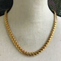 "Vintage NAPIER Heavy Gold Tone Choker Necklace Pat. Number 18"" GORGEOUS ELEGANT"