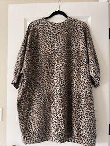 Ragdoll LA Large Super Oversized Leopard Sweatshirt Brown NWOT