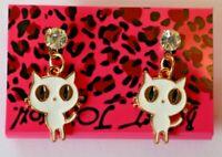 Betsey Johnson Crystal Rhinestone Enamel Post Earrings Cat
