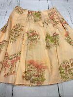 DKNY City Women's Skirt Petites Peach With City Print Skirt Size 8 P