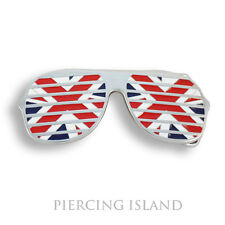 Gürtelschnalle Metall Buckle Union Jack England Brille Gürtel GS034