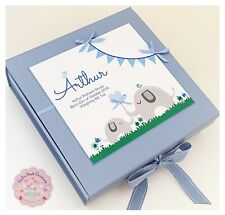 Personalised Baby Keepsake Box, LARGE Boy's Memory Box Christening Baby Gift