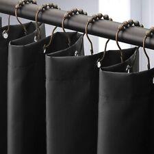 Amazer Fabric Shower Curtain Liner, Black Polyester Fabric Shower Curtain Liners