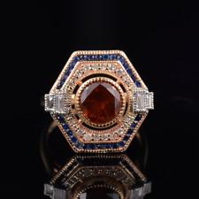Natural Spessartine Red Garnet Diamond Gemstone Ring Solid 14K Gold Lady Jewelry