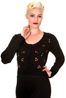 Banned 50s Rockabilly Cherry Embroidery Cardigan Cropped Top Button up BLACK RED