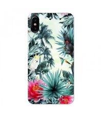 Coque Iphone X perroquet palmier exotique tropical fleur rose