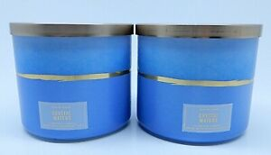 2 BATH & BODY WORKS WHITE BARN CRYSTAL WATERS SCENTED CANDLE 3 WICK 14.5oz LARGE
