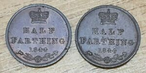 Two 1844 Victoria Half Farthing Coins