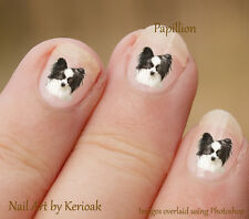 Papillon, Butterfly dog portrait,  Set of 24 Dog Nail Art Stickers Decals