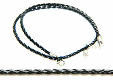Trendy Men's 2mm Leather Cord Necklace with Silver Clasp