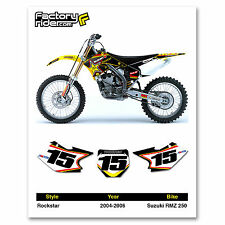 2004-2006 SUZUKI RMZ 250 Rockstar Dirt Bike Graphics Custom Number Plates