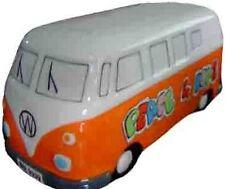 Orange VW Kombi Coin Bank Money Box Peace & Love Volkswagen Camper Van.