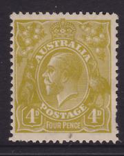 AUSTRALIA KGV 1929 4d Yellow-Olive SMALL MULTI WMK MINT/MH SG 102 (KK20)