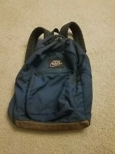 Vintage 90's Nike Backpack Suede Leather Bottom Blue Swoosh FREE SHIPPING