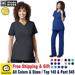 WonderWink Scrubs Set WORK Women's Maternity Mock Wrap Top & Cargo Pant 145/545
