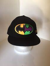 Batman New Era Cap Snapback Noir Vert Jaune monté 7.5 7 1/2 Pouces 59
