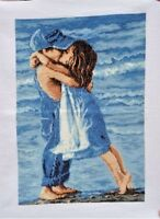 "New cross Stitch Completed Finished""First Kiss""Home Decor Wall Hanging gifts"