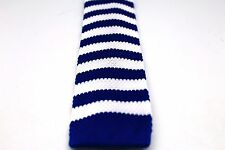 """Rugby Stripe Knit Knitted Neck Tie Woven Slim Square 2.5"""" 57 Royal Blue White"""