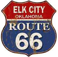ELK CITY, OKLAHOMA Route 66 Shield Metal Sign Man Cave Garage 211110013217
