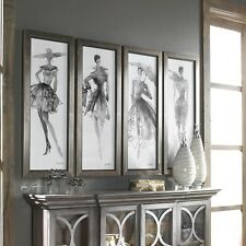 "FOUR NEW 40"" WOMAN FASHION PRINTS MODERN FRAMES SKETCHES STYLE UNDER GLASS"