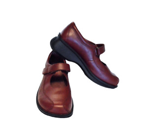 Simple Women 8.5 39.5 Mary Jane Loafer Shoes Leather Adjustable Burgundy Oxblood