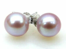 5mm AAA+++ perfect round akoya sea Lavender pearl stud earring 14k white gold