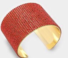 Red Gold Wide Cuff Crystal Rhinestone Wedding Prom Evening Pageant Bracelet